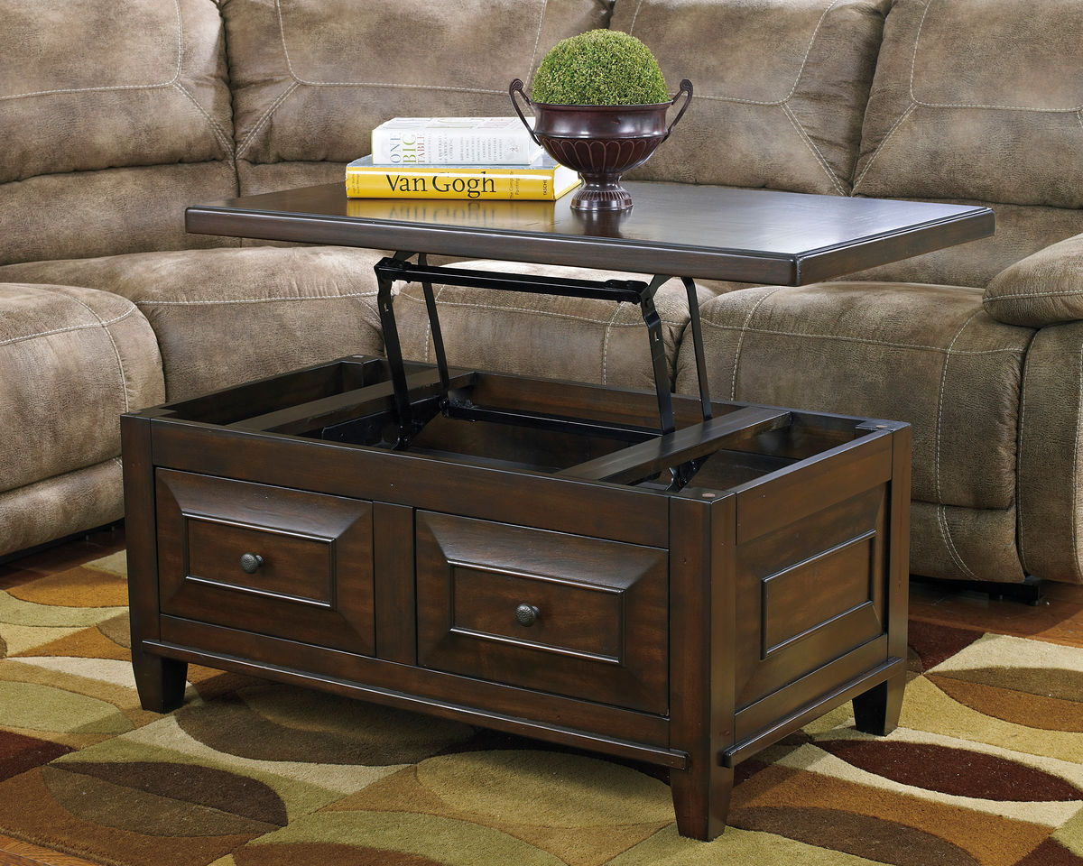 Hindell Park Rustic Brown Lift Top Cocktail Table Ez