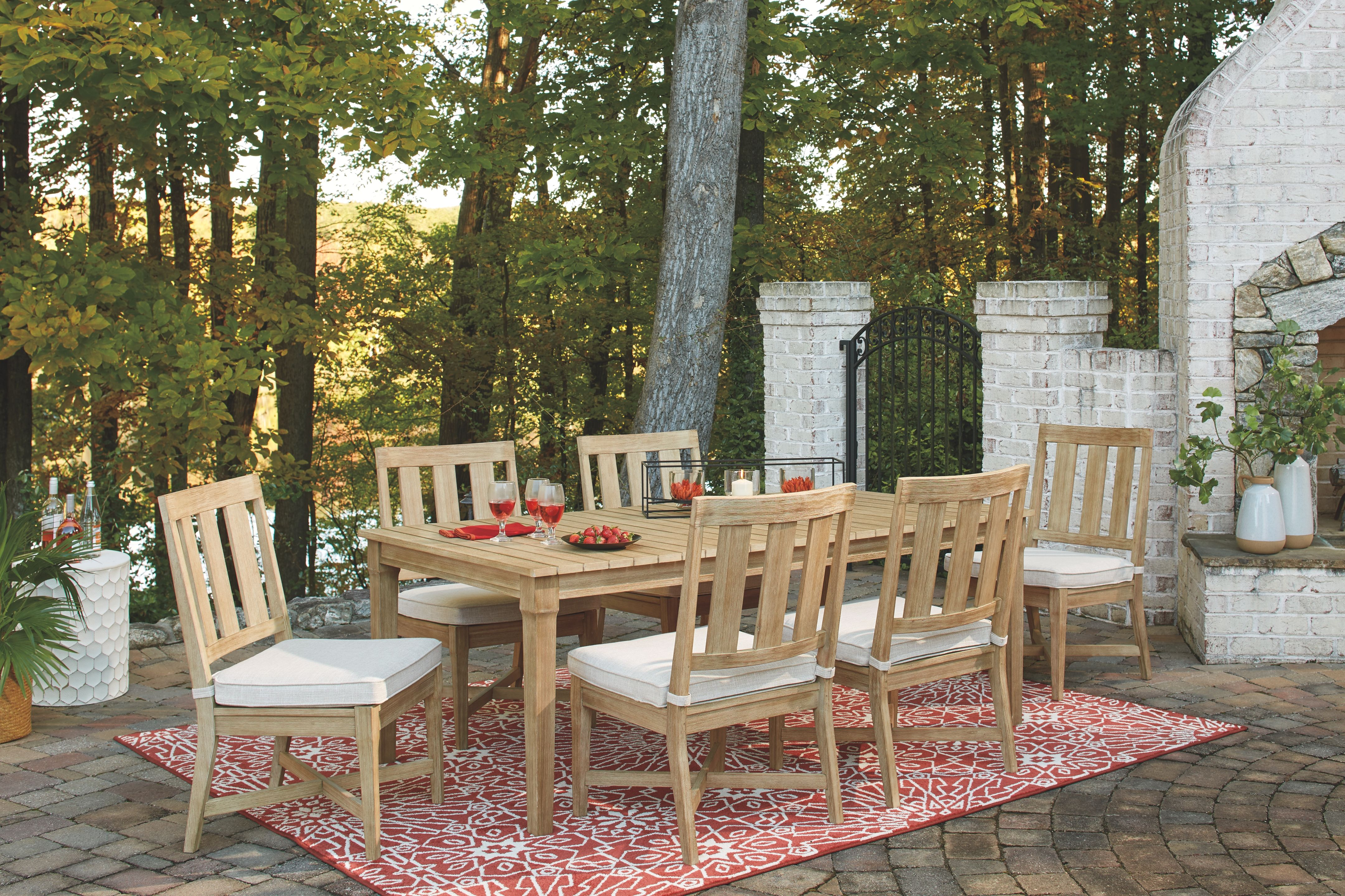 Clare View - Beige - Dining Set with 6 Chairs - EZ ... on Clare View Beige Outdoor Living Room id=39045