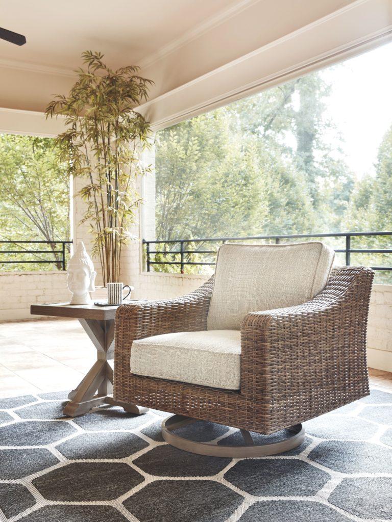 Beachcroft - Beige - Swivel Lounge Chair (1/CN) - EZ ... on Clare View Beige Outdoor Living Room id=57008