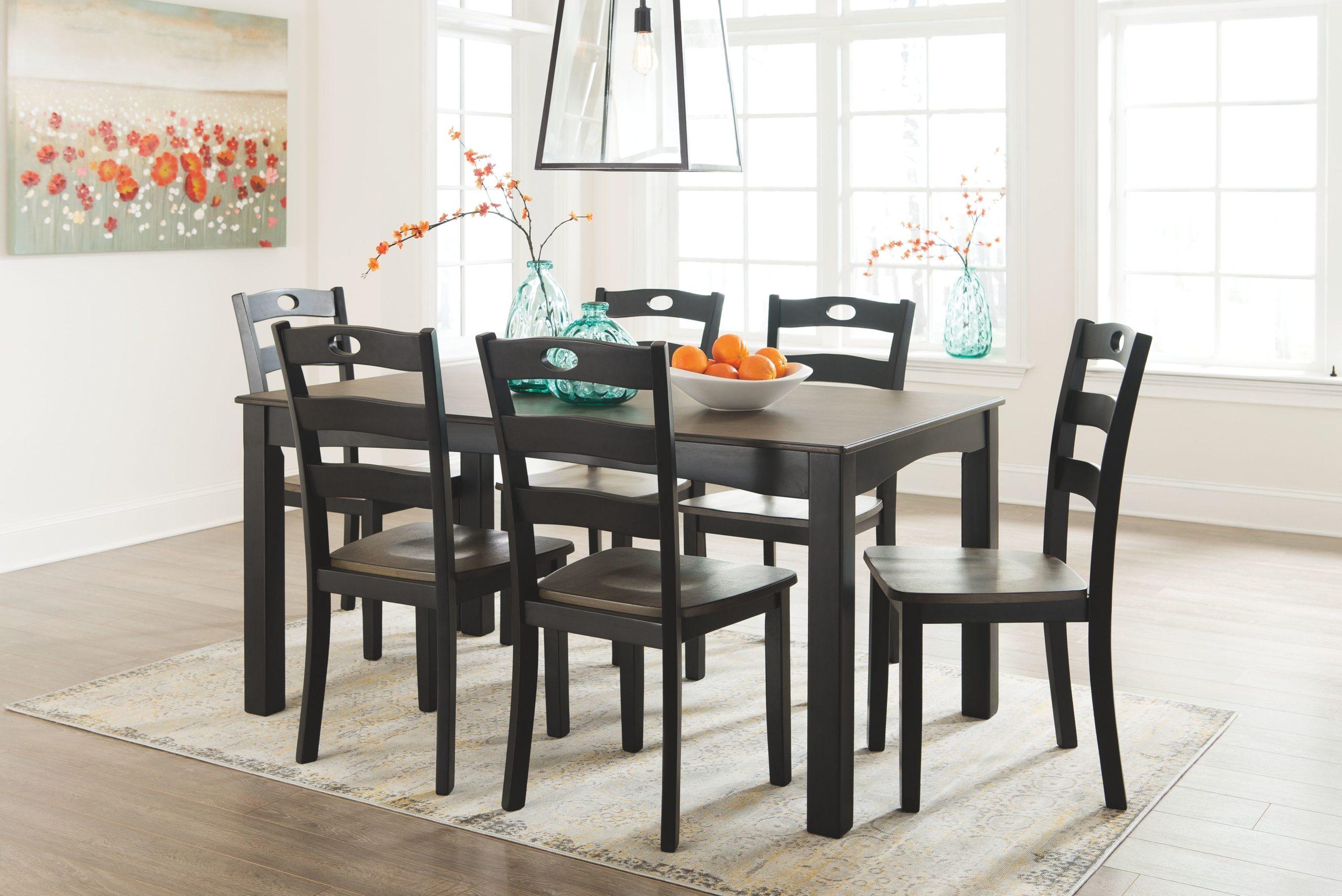 Froshburg – Grayish Brown/Black – Dining Room Table Set (7 ...